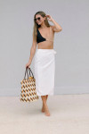 Emerson Fry Linen Tie Midi Skirt Front View