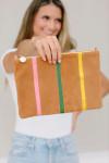 Clare V Flat Clutch W/ Tabs Stripe model