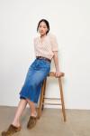 Ba&sh Dona Denim Skirt FRont Model View