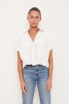 Stateside Poplin Twist Shirt Front View white