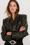Ba-sh Celia Cropped leather jacket Front view