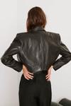Ba-sh Celia Cropped leather jacket back view