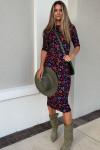 Farm Rio Fitted Leopard Jersey Dress