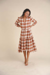 Birds of Paradise Ainsley Long sleeve Gingham Dress Front View