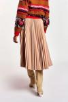 Essentiel Faux Leather Plissé Midi Skirt