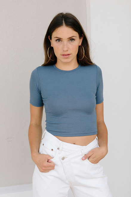 Her Look Ribbed Tee Front NSD