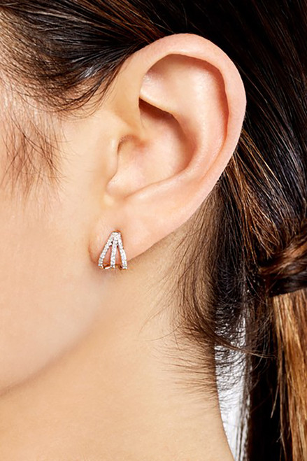 Adina Reyter pave triple hoops Side View
