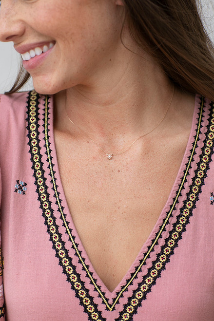 Adina Reyter pink opal and diamond flower necklace Front View