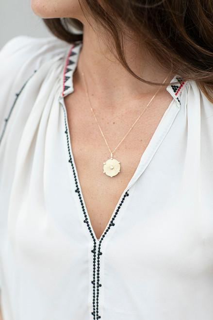 Adina Reyter large bezel diamond rays pendant Front View