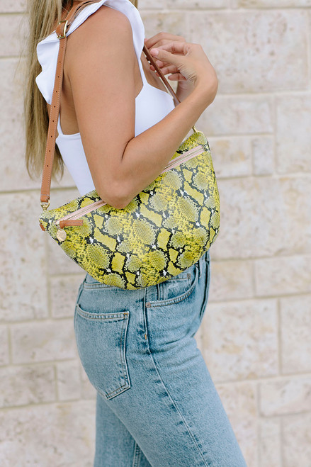 Clare V Grande Fanny/Crossbody Yellow Snake Model