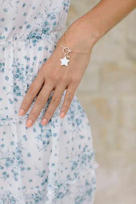 PT Sky paperclip chain with white star