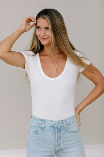 Agolde Short Sleeve Ribbed Bodysuit