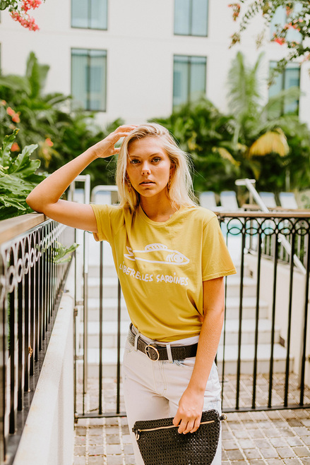 Clare V. Camp Fit Sardines Tee Model View
