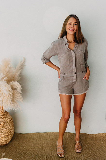 YFB River Raw Edge Romper Front View