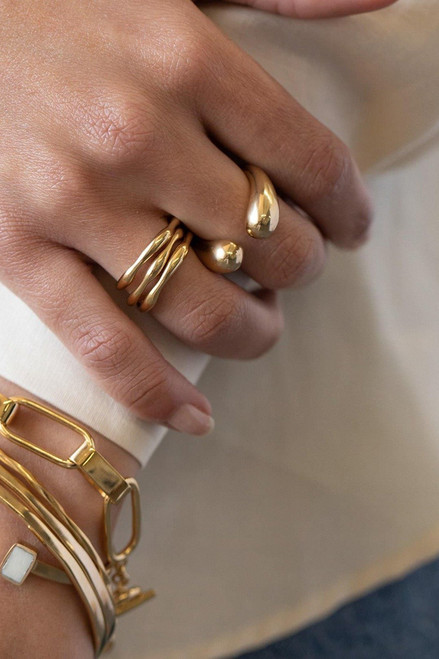 SOKO Gold Dash Ring Model View