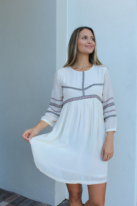 BA&SH Colombe Embroidered Dress Front View