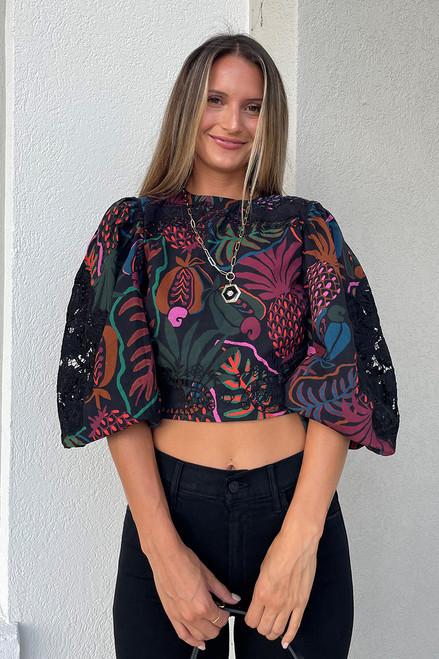 Farm Rio Balloon Sleeve Mix Print Lace Top