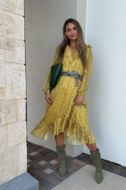 Greylin Esther Crossover Midi Dress