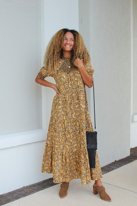 Saylor Kirstin Smock Tiered Maxi Dress Front View