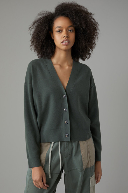 Closed Knit Wool and Cashmere Cardigan in Thyme Front View