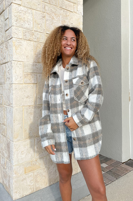 RD Style Plaid Coat Jacket Front View
