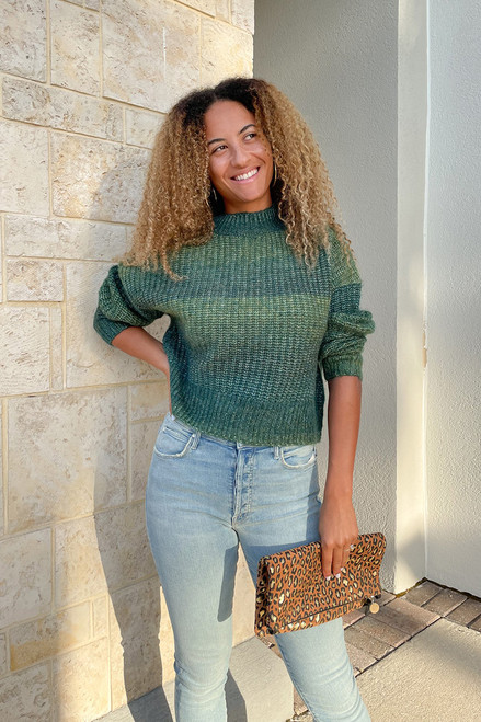 RD Style Ombre Knit Sweater Front View Emerald