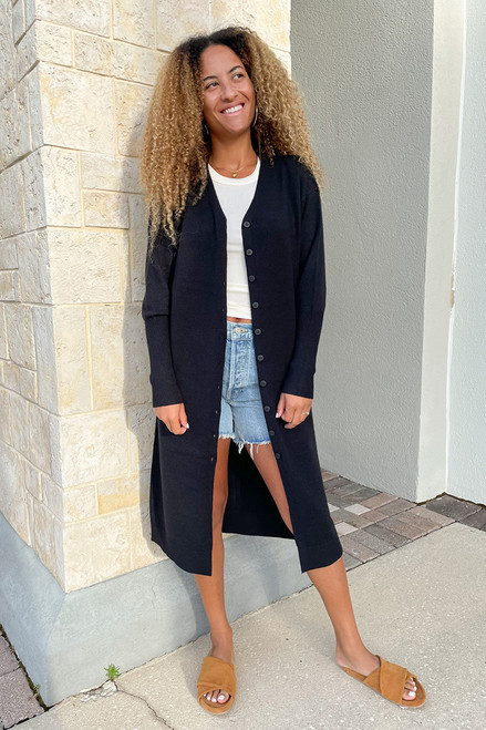 RD Style Long Duster Cardigan Front View
