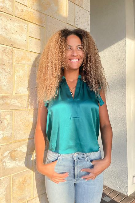 Amanda Uprichard Sheridan Flutter Sleeve V-Neck Top