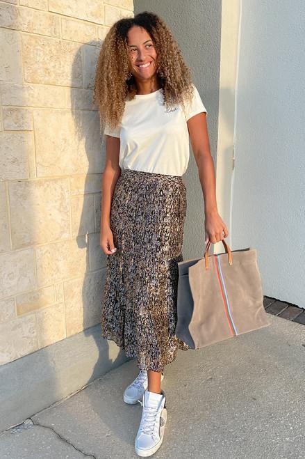 BA&SH Gellio Print Midi Skirt