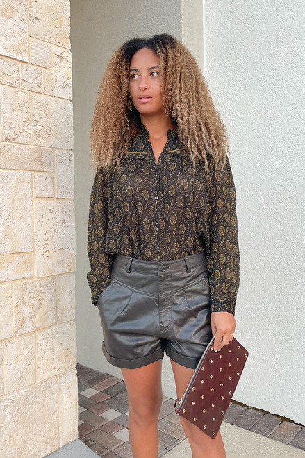 BA&SH Leandro Leather Short