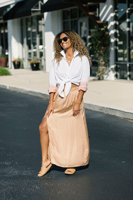 Cali Dreaming Float Maxi Skirt in Dune Side View