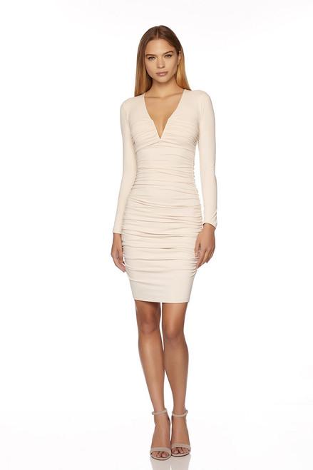 Susana Monaco V-Neck Gathered Longsleeve Dress
