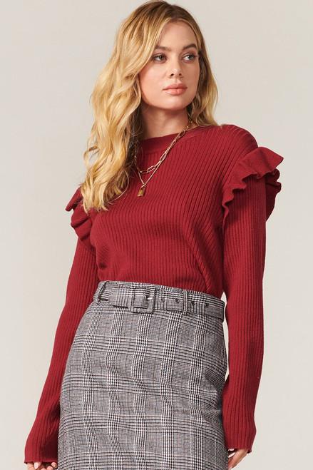 Greylin Frida Rib Knit Ruffled Sweater