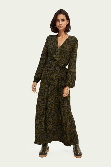 Scotch & Soda Printed Wrap Maxi Dress