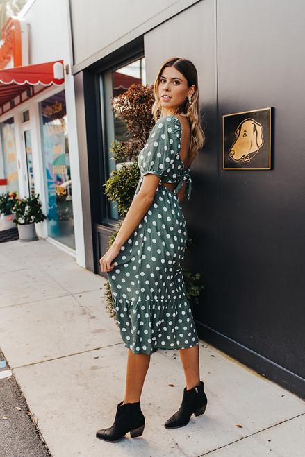 Faithfull The Brand Kalila Dot Print Midi Dress