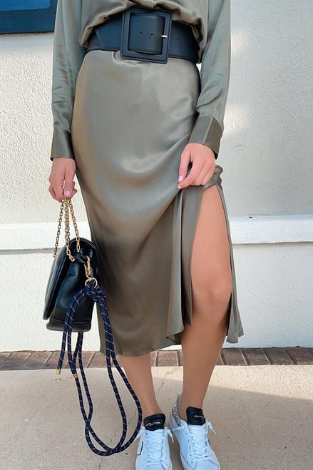 Rails maya Satin Midi Skirt Detail View