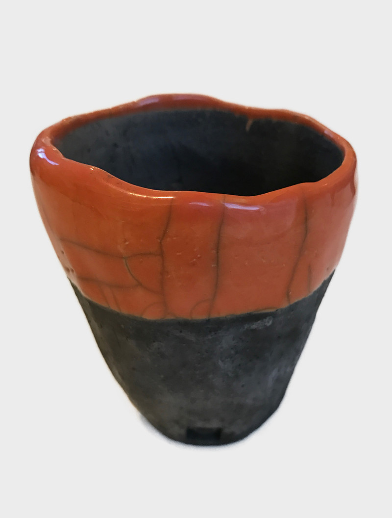 FES POT, orange, Ø6-8 x H6-8, handmade / handgemacht