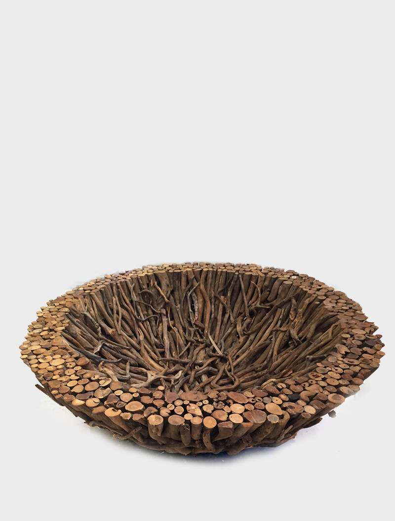 WOODEN BOWL round. Material: Driftwood