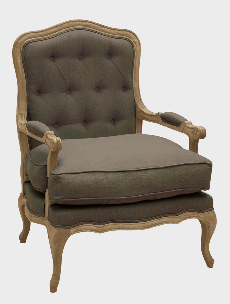 Armchair DELPHINE made of oak wood, fabric cotton / linen Color: maroon