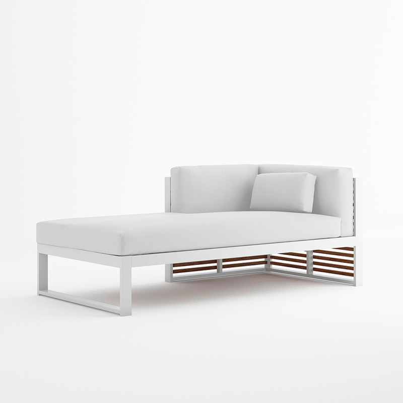DNA SECTIONAL SOFA 2 Thermo-lacquered welded aluminium. Polyurethane foam rubber covered with water- repellent fabric. Removable fabric cover.