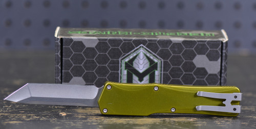 "Heretic Knives Cleric Tanto OTF Automatic Knife Green Handle, 3.5"" Stonewash Blade"