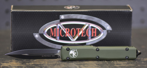 Microtech Ultratech D/E Contoured Black Blade and OD Green Handle