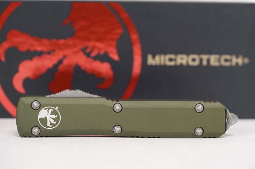 Microtech Ultratech S/E OD Green APO Standard - full view w/ blade closed logo side