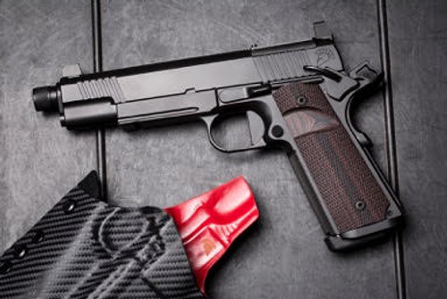 The beautiful Griffon Industries Nighthawk Custom 9mm 1911 with threaded barrel