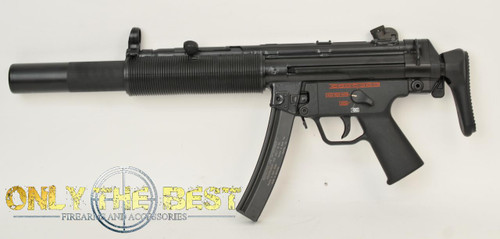 Heckler and Koch MP5SD w/A3 stock SBR left side view w/stock closed