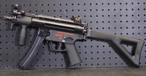Heckler and Koch MP5K-PDW SBR left side view w/stock open
