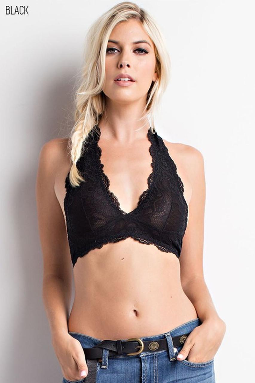 e8f608210e987 Black Lace Halter Bralette - Younique Culture