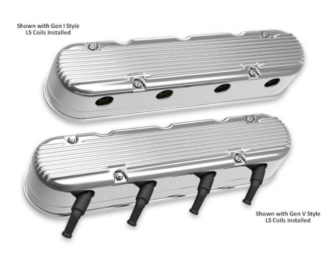 Holley LS 2-Piece Vintage Finned Valve Covers 241-181