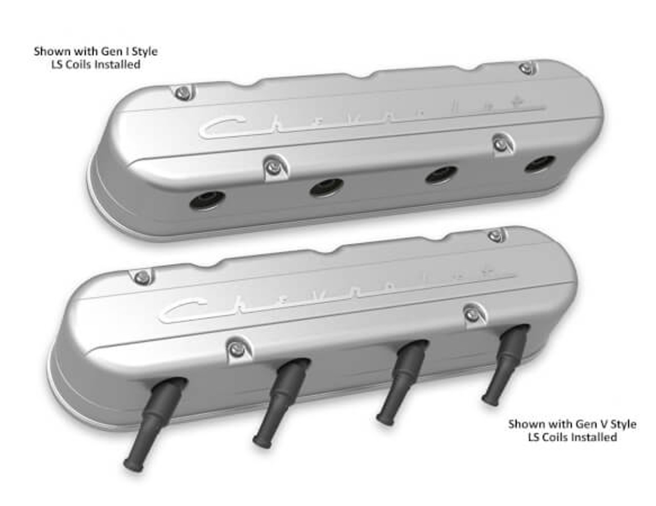 Holley LS 2-Piece Chevrolet Script Logo Valve Covers 241-175