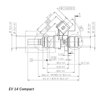 DeatschWerks 142 lb/hr EV14C Minitimer Fuel Injectors 16M-22-1500-8